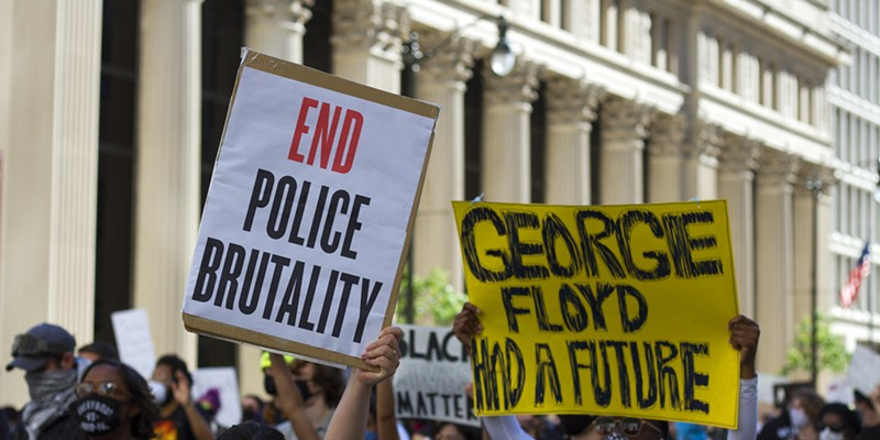 Protesters take to the streets in Detroit following the death of George Floyd.