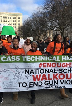 Cass Tech students ask for stricter gun control during a protest on National School Walkout Day