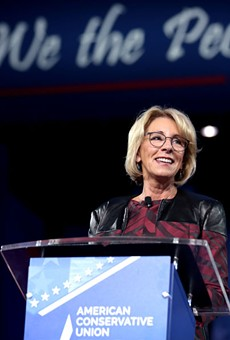 Betsy DeVos speaking at the 2017 Conservative Political Action Conference in National Harbor, Maryland.