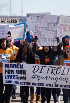 Detroit students march along the Detroit River on Saturday, March 24 to protest gun violence.
