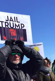 Hundreds of protesters met Trump on his first visit to Michigan. They'll be out again when the president comes to Washington Township this Saturday.