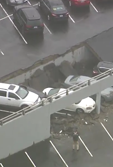 Parking deck collapse in downtown Detroit.