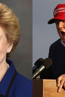 Michigan Sen.  Debbie Stabenow and Donald Trump.