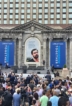 Ford Motor Co. celebrates its purchase of Detroit's long-abandoned Michigan Central Station. Yes, that is a photo of Phil Cooley.