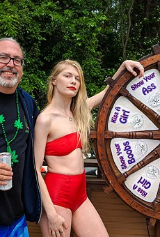 Captain Jim, the author, and Jobbie Nooner's Wheel of Destiny.