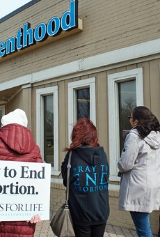 Pro-life protesters surround Ferndale's Planned Parenthood.