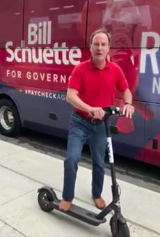 Republican gubernatorial candidate Bill Schuette promoting Bird scooters in Detroit