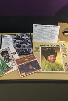 "Aretha Franklin memorabilia on display at the Detroit Historical Museum, including a rare ""Respect"" test pressing."