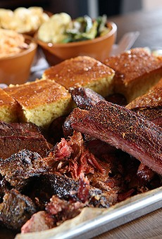 The 6 Pack, with brisket, chicken, pulled pork, zekewurst, ribs, burnt ends and cornbread, from Zeke's Rock 'n' Roll BBQ in Ferndale.