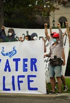 Water rights advocates protest shutoffs in Detroit.