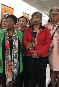 From left: US Representatives Debbie Wasserman-Shultz, Debbie Dingle (MI), Shelia Jackson Lee,  Brenda Lawrence (MI), Joyce Beatty, Anne Kuster, and Julia Brownley