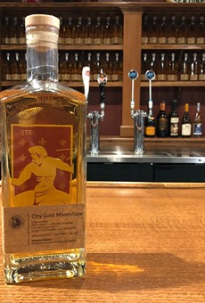 Detroit City FC's City Gold Moonshine made by Detroit City Distillery.