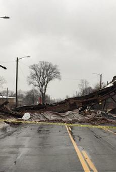 Detroit's Packard Plant bridge just collapsed
