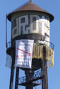 A water tower in the Eastern Market.