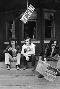 Barry Kramer, Dave Marsh, and Lester Bangs outside Creem's Cass Corridor offices, circa 1969.