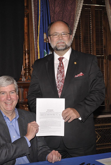 Former GOP Senate Majority Leader Alan Meekhof and Rick Snyder, who orchestrated the 2018 lame duck power grabs.