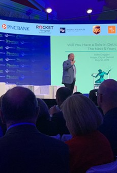 Mayor Mike Duggan speaks at the 2019 Mackinac Policy Conference on Thursday.