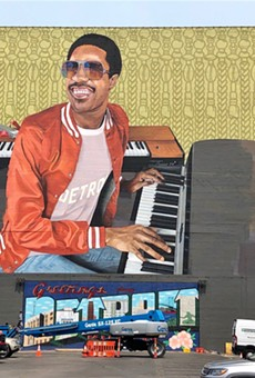 Music Hall's Stevie Wonder mural, photographed on Monday.