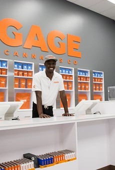 Donnell Cravens shows off the new retail floor at the soon-to-open Gage Cannabis Co. in Ferndale.