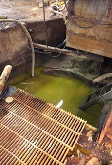 Pit in the basement at the factory responsible for toxic ooze on I-696.