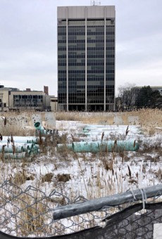Boom gone bust: Work has stalled at The Mid and other Detroit developments.