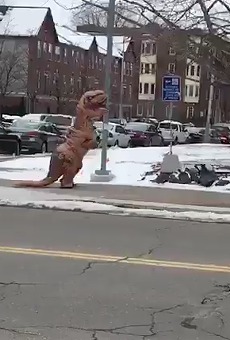 This video of a T-rex wiggling around Wayne State is pretty much the best thing ever