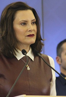 Gov. Gretchen Whitmer at coronavirus press conference on Friday.