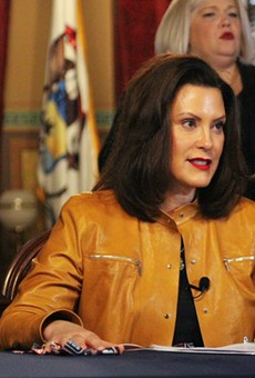 Gov. Gretchen Whitmer at a press conference Monday.