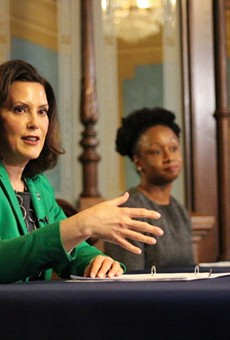 Gov. Gretchen Whitmer and Dr. Joneigh Khaldun, the state's chief medical officer, at a news conference Thursday.