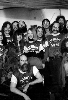 "Inside (poet) baseball (jerseys): This group photo of the Detroit Poets was displayed in the 1980 Detroit Institute of Arts Show ""Kick Out the Jams: Detroit's Cass Corridor 1963-1977."""