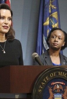 Gov. Gretchen Whitmer (left), with Dr. Joneigh Khaldun, at a recent news conference.
