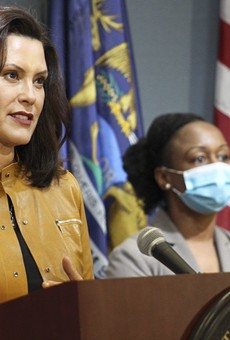Gov. Gretchen Whitmer, left, and Dr. Joneigh Khaldun, the chief medical officer for MDHHS.