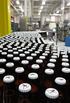 Bottling line inside Brew Detroit's facility.