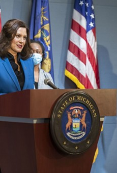 Gov. Gretchen Whitmer at a news conference Monday.