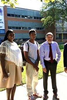Left to right: Osborn college adviser Andrea Jackson, Jamarria Hall, Public Counsel's Mark Rosenbaum, and co-counsel Mike Kelley in front of Osborn High School.