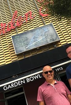 Dave Zainea, left, and Dan McGowan outside the Majestic complex.