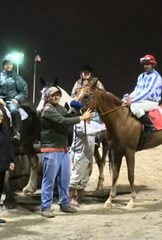 Jockey Wayne Barnett continued his unlikely comeback Friday night at Hazel Park with two more victories, including a wire-to-wire win in the sixth race aboard Art I Awesome.