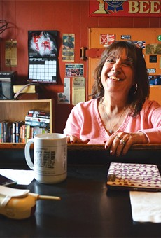 Cindy Furkovich at the end of the bar at Jumbo's — the same place her father held court in the more than four decades he ran the Cass Corridor bar.