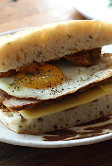 The egg and sausage breakfast sandwich.