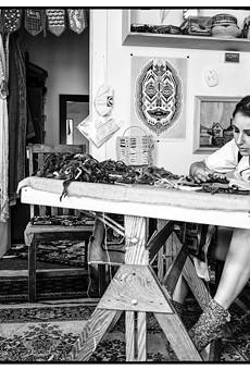 Wood at work in her Hamtramck home studio.