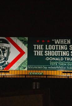 Shepard Fairey's billboard addressing President Trump's violent rhetoric.