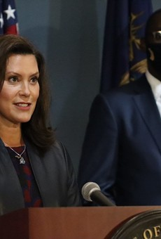 Gov. Gretchen Whitmer at a recent press conference.