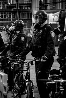 Grand Rapids police during the May 30 protest.