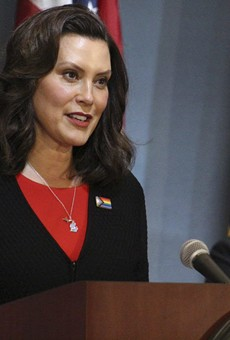 Gov. Gretchen Whitmer at a past coronavirus press conference.