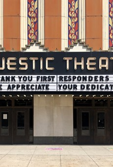 The marquee of the Majestic Theatre in Detroit.