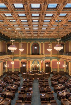 House of Representatives chamber inside the Michigan State Capitol building.