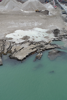 Drone photos of the Revere Dock collapse in southwest Detroit.