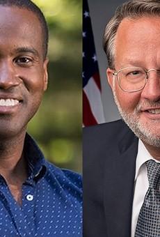 Republican Senate hopeful John James, left, and Democratic Sen. Gary Peters.