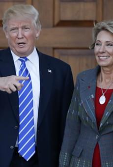 President Donald Trump and U.S. Education Secretary Betsy DeVos.
