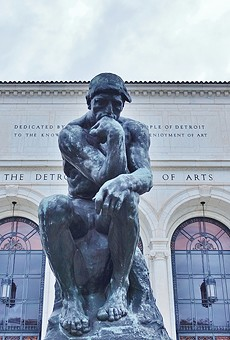 """""""The Thinker"""" sculpture by Auguste Rodin ponders outside the Detroit Institute of Arts."""